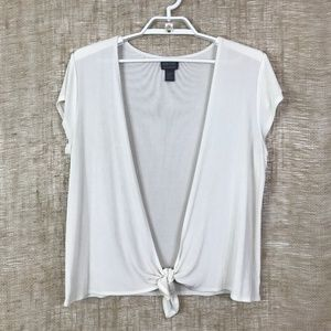 Additions by Chico's White Tie-Front Shrug - 3/XL